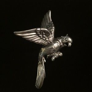 Jewelry - C. 1940's Large Sterling Flying Parrot Pin